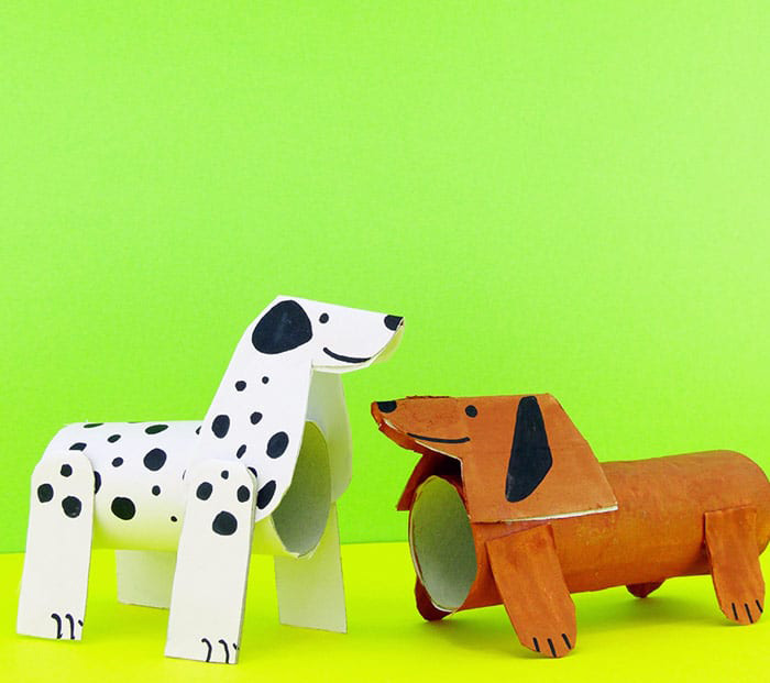 Dog toilet roll paper craft