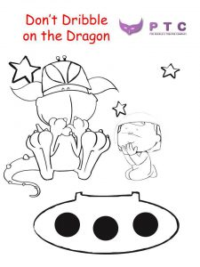 Don't Dribble on the Dragon colouring sheet